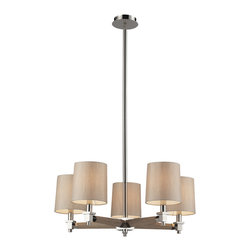 Elk Lighting - Jorgenson 5-Light Chandelier in Polished Nickel - The Jorgenson Collection stylishly bridges the gap between mid-century modern furniture design and lighting. This collection was designed using solid wood that emulates the tapered angle of fine furniture legs and angular metalwork that compliments its sleek style. Choose between two combinations of taupe wood, polished nickel metalwork and champagne fabric shades, or mahogany finished wood, satin brass metalwork and tan crosshatch textured linen shades.
