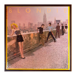 """Glittered Blondie Autoamerican Album - Glittered record album. Album is framed in a black 12x12"""" square frame with front and back cover and clips holding the record in place on the back. Album covers are original vintage covers."""