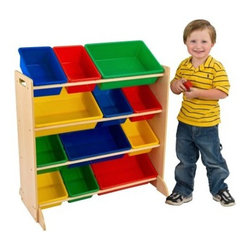 KidKraft Sort It and Store It Bin Unit - Kiss clutter goodbye by adding the KidKraft Sort It and Store It Bin Unit to your kids' play room. This sturdy four-shelf unit is the perfect height for children to find- and put away- all their favorite toys. Twelve brightly colored plastic storage bins- three red three blue three yellow and three green- are perfect for storing and organizing toys sports equipment or clothes. The bins come in large and small sizes to accommodate differently sized items and are cleverly displayed at an angle so your kids can see the contents. The frame also includes handles for easy mobility and an extra wide base to prevent tipping.About KidKraftKidKraft is a leading creator manufacturer and distributor of children's furniture toy gift and room accessory items. KidKraft's headquarters in Dallas Texas serves as the nerve center for the company's design operations and distribution networks. With the company mission emphasizing quality design dependability and competitive pricing KidKraft has consistently experienced double-digit growth. It's a name parents can trust for high-quality safe innovative children's toys and furniture.