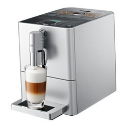 Jura Capresso ENA Micro 9 One Touch Cappuccino Machine - What's that you said Jura Capresso ENA Micro One Touch Cappuccino Machine? You want to make me perfect cups of espresso in the size of my choice and also let me choose the aroma level too? And you'll gently grind the beans fresh for each cup before you brew it and you'll store the beans underneath an aroma-saving cover? All this and you won't even take up that much space on my countertop? Do you know how much I love you? A latte. This fully automatic machine boasts the Intelligent Pre-Brew Aroma System to brew the best cup from your favorite blends and roasts of coffee. The buttons and rotary switch for custom settings make the machine incredibly easy to use. It prepares cappuccinos lattes and other delicious gourmet coffee beverages at the touch of a button without having to move your cup. There are dual spouts for coffee and milk and they adjust to accommodate different cup sizes. Sleek and compact this high-tech machine is equipped with fine foam technology so it's easy to top your drinks with rich creamy milk foam. Additional Features Intelligent pre-heating for hot coffee from the first cup Integrated rinsing cleaning and descaling program Rotary switch and clear text display for fast easy operation Programmable amount of water to suit the size of your cup Multi-level conical grinder Coffee strength can be adjusted for each preparation Adjustable water hardness Integrated cappuccino rinsing and cleaning program Energy-save mode and zero-energy switch Powder recognition for ground coffee Hot water function Monitored aroma preservation cover Weighs 20.7 pounds About CapressoLaunched in 1994 Capresso provides innovative coffee equipment for professionals and home users alike. In 2002 Capresso merged with Jura AG a company founded in 1931 in Switzerland. Together Jura Capresso began to introduce the finest automatic coffee centers to the U.S. market. With friendly high-tech features like one-touch operation interchangeable frothers LED displays and high-pressure brewing Jura Capresso coffee machines have quickly become leaders in the industry. Through new patented designs their machines are constantly evolving to make it a pleasure for you to make delicious coffee with ease. Jura Capresso machines are beautifully designed to look great on your countertop and are made with high-quality materials that are engineered for years of reliable performance.