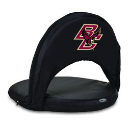 Picnic Time - Boston College Oniva Seat Recreational Reclining Seat Black - When you need a recreational reclining seat that's lightweight and portable, the Oniva Seat is for you. It has an adjustable shoulder strap and six adjustable positions for reclining. The seat cover is made of polyester, the frame is steel, and the seat is cushioned with high-density PU foam, which provides hours of comfortable sitting. The bottom of the seat is black so as not to soil easily. The Oniva Seat is great for the beach, the park, gaming and boating.; College Name: Boston College; Mascot: Eagles; Decoration: Digital Print