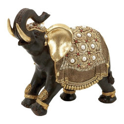 Woodland Import - Indian Style Polystone Decorative Elephant with Gold Accents - 69477 - Shop for Sculptures Statues and Figurines from Hayneedle.com! Striking a proud pose the Indian Style Polystone Decorative Elephant with Gold Accents dresses up your decor with an elegant worldly air. He s made of quality resin and you ll love how the lifelike carved details and pearl accents instantly draw the eye. Plus the painted gold red and white tones add that perfect hint of color.