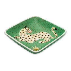 Waylande Gregory Leopard Green Tray - Two Words: Meeee Yoooowwww. I LOVE the idea of this fabulous art deco tray on a dresser top or nightstand holding a few gold hoop earrings and maybe a ring or two. There's something kind of Diana Vreeland meets Eartha Kitt about it.