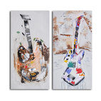 """Papier-Mâché Guitar Couplet"" Hand-Painted 2-Piece Canvas Set - It's the battle of the bands! Or Nashville. These colorful guitars have a song to play and you're listening. But first, you have to own them."
