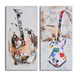 Papermache guitar couplet Hand Painted 2 Piece Canvas Set - It's the battle of the bands! Or Nashville. These colorful guitars have a song to play and you're listening. But first, you have to own them.