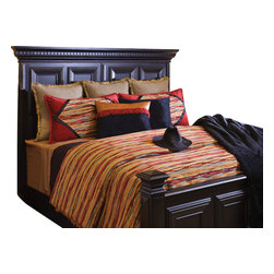 Horizon Coverlet Set, King - A fun mixture of Red, Turquoise, Gold and Black elevates this western Chenille pattern. Enhanced with a touch of faux Leather and trimming.