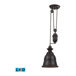 Elk Lighting - EL-65070-1-LED Farmhouse LED 1-Light Pendant in Oiled Bronze - Inspired by antique lighting, this series recalls turn-of the century design where simple aesthetics and mechanical function combined to create charming, yet versatile fixtures. These classic pull-downs have a decorative weight that counterbalances the fixture for easy height adjustability anytimeby simply pulling down or lifting up on the fixture. - LED offering up to 800 lumens (60 watt equivalent) with full range dimming. Includes an easily replaceable LED bulb (120V).