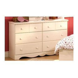 South Shore - Kids 6 Drawer Dresser - Vanilla - The rectangular case is accented with lacy scalloping and blended pulls are sprawled out on 4 large drawers and 2 smaller drawers, all with generous storage space.  Double dresser is styled with decorative kick space and soft creamy vanilla finish for a neutral accent piece with practical storage function and beautiful timeless appeal.  Blended pulls are spaced across six drawers for easy opening.  This Vanilla Finished Children's Dresser is the perfect example of quaint furnishings with an innocent touch.  The bottommost edge of the dressers is beautifully scalloped and the dresser looks lovely with or without the optional mirror. * Manufactured from eco-friendly, EPP-compliant laminated particle boardcarrying the Forest Stewardship Council (FSC) certification. The Andover double dresser has a soft vanilla cream finish.. Soft rectangular case is accented with lacy scalloped detail at the base.. Matching wood knobs accent are spaced across each of the six drawers for easy access.. Graceful and appealing for any feminine bedroom.. Constructed of particleboard. Six pull out drawers offer ample storage space. Plastic drawer glides for smooth openings and closings. Assembly required. 52 W x 32 H x 16 D in.