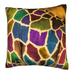 Custom Photo Factory - Abstract African Giraffe Pillow.  Polyester Velour Throw Pillow - Abstract African Giraffe Pillow. 18 Inches x 18  Inches.  Made in Los Angeles, CA, Set includes: One (1) pillow. Pattern: Full color dye sublimation art print. Cover closure: Concealed zipper. Cover materials: 100-percent polyester velour. Fill materials: Non-allergenic 100-percent polyester. Pillow shape: Square. Dimensions: 18.45 inches wide x 18.45 inches long. Care instructions: Machine washable
