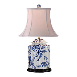 "Lamps Plus - Asian Floral White And Blue Jar Table Lamp - This darling table lamp features a blue and white floral print on a stout jar-style base. A cotton shade with ribbing softens the glow of the bulb while providing a dramatically curved element to the design. A delightful accent lamp to instantly add pattern and botanical appeal to your decor! Floral table lamp. Blue and white finishes. Jar-style base. Cotton shade with ribbing. Rotary switch. Takes one 100 watt 3-way bulb (not included). 29"" high. Shade is 8"" x 10 1/2"" across the top 15"" x 18"" across the bottom. Base footprint is 9"" wide 6 1/2"" deep.  Floral table lamp.  Blue and white finishes.  Jar-style base.  Cotton shade with ribbing.  Rotary switch.  Takes one 100 watt 3-way bulb (not included).  29"" high.  Shade is 8"" x 10 1/2"" across the top 15"" x 18"" across the bottom.  Base footprint is 9"" wide 6 1/2"" deep."