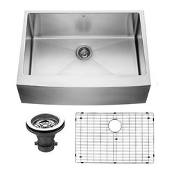 Vigo Industries - Farmhouse Kitchen Sink with Grid and Strainer - VIGO delivers top quality and unique design in this 30-inch farmhouse, stainless steel, kitchen sink set with matching grid and strainer. This kitchen sink is cUPC certified by IAPMO
