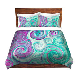 DiaNoche Designs - Duvet Cover Twill - Flow - Lightweight and super soft brushed twill Duvet Cover sizes Twin, Queen, King.  This duvet is designed to wash upon arrival for maximum softness.   Each duvet starts by looming the fabric and cutting to the size ordered.  The Image is printed and your Duvet Cover is meticulously sewn together with ties in each corner and a concealed zip closure.  All in the USA!!  Poly top with a Cotton Poly underside.  Dye Sublimation printing permanently adheres the ink to the material for long life and durability. Printed top, cream colored bottom, Machine Washable, Product may vary slightly from image.
