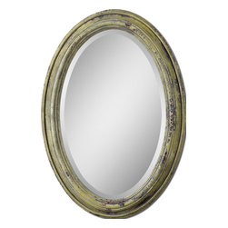 Uttermost - Brizona Yellow Mirror - Mirror, mirror on the wall, who has the most impeccably decorated home of all? You do, of course. Display your decorating prowess with a heavily distressed framed oval mirror. Wicked witch not included.