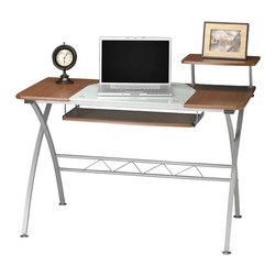 Mayline - Mayline Vision Wood Top Computer Desk-Medium Cherry - Mayline - Student Desks - 972MEC - This is a desk you will love for years to come! This modern, mobile workstation meets virtually any need in the home office or workspace. The sleek and simple design takes up minimal space while providing a large worktop that will easily accommodate any computer. The 2 available colors, Anthracite and Medium Cherry, are sure to fit in with any decor. The Eastwinds collection is a collection of stylish, affordable workstations and storage units for today�s office environment. Work surfaces have seamless, contoured edges using vacuum-formed thermofoil technology. Heavy-duty steel frames are easy to assemble using threaded, metal-to-metal inserts to connect to surfaces. Metallic Gray powder-coated finish.