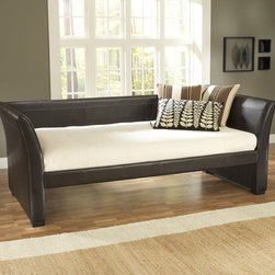 "Hillsdale - Malibu Daybed - Features: -Brown bonded leather finish. -Perfect fit for any dcor from Contemporary to eclectic. -Modern design. -Gently sleighed arms. -Back and sides are padded for increased comfort. -Accommodates any standard twin size mattress. -Overall Dimensions: 45"" H x 93.5"" W x 42.5"" D."