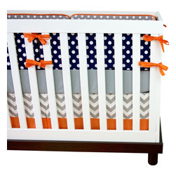 "Modified Tot - Baby Bedding Crib Set, Navy and Gray - Navy blue and gray is the perfect subtle palette for your little guy. Add pops of color throughout the nursery or keep it simple, either way you can't go wrong with these simply modern dots. The three piece set includes bumpers with hand-stitched fabric ties and contrasting piping, a fitted sheet with elastic all the way around and a four-sided skirt with a 15"" drop. Bumpers are created in six separate pieces for easy transition to a toddler bed, they measure 1"" thick and 10"" high. All items are proudly made in the USA. All products are made to order."