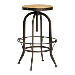 Ford Bar Stool, Stainless Steel - Invite your friends to pull up a seat and stay awhile with this Ford bar stool. The stool's steel frame has a traditional footrest that rings the base while distinct rivets attach the reclaimed wood seat to the stool. Perfect for enjoying a ball game at the bar, this stool creates an industrial pub vibe at home.
