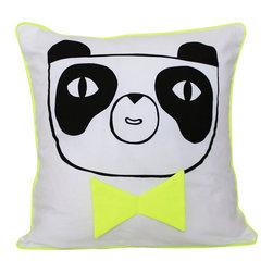 "Julia Staite - Happy panda pillow/cushion cover 16"" x 16"", Boy Panda Neon Yellow - Cutest addition to a kids room! 100% cotton cushion cover"