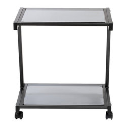 Euro Style - L Printer Cart - Graphite Black/Smoked Glass - Finished to match the L Desk, this cart has plenty of room for larger printer and supplies. And with four casters, it's ready to roll.