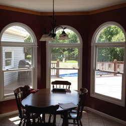 Before: No window treatments on Kitchen Bay Windows - Before Photo. No window treatments on this kitchen bay. Soon to be outfitted with Norman composite shutters.