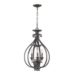 Quorum International - Randolph Medium Three-Light Oiled Bronze with Antique Gold Convertible Semi-Flus - Randolph Medium Three-Light Oiled Bronze with Antique Gold Convertible Semi-Flush Quorum International - 6794-3-86