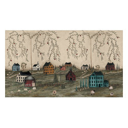 York Wallcoverings - Primitive Country Scenery Giant Wallpaper Accent Mural - Features: