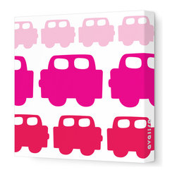 "Avalisa - Things That Go - Car Stretched Wall Art, 28"" x 28"", Pink Hue - Plain walls driving you crazy? Get on the road to colorful style with this whimsical wall art. Perfect for a kid's room, blocky cars are lined up freeway-style in your choice of colors and sizes. They're printed on stretched white fabric and hang in a snap so you can do your thing and go, go, go."