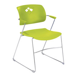 Safco - Safco Veer Stack Chair in Grass (Set of 4) - Safco - Stacking Chairs - 4286GS - We're bringing flexi back! You would never expect this much comfort and flexibility from a stack chair. Its fluid movements result in superior comfort and adaptability across your workspace. The Veer Stack Chair blends style with a back that arches with the bodies natural curves to give relaxing support whether it's an extra seat for a meeting or a roomful for a presentation. With so much flexibility Veer Stack has got your back. The chair features non-marring floor glides and can stack up to 12 high on the floor and 28 high on a cart. Available in three colors: Grass (GS) Blue (BU) and Black (BL). Packed 4 per carton. Limited Lifetime Warranty.