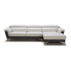 Zuri Furniture - Gray/Black Savoy 3-Seater Sectional Sofa, Right Chaise + 3 Seater - The modern Savoy is an exquisite contemporary sectional sofa featuring two-tone aniline-dyed Italian top grain leather in modern contrasting colors, adjustable headrests for comfort and convenience, stylish v-shaped legs, and durable kiln-dried hardwood frame. The funky three-seater is a standout in any living room.