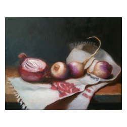 Oil Painting Of Vegetables, Original Still Life , Original, Painting - Still life oil painting on stretched canvas, from observation.  Arrives unframed but ready to hang (the sides are painted black). See additional photos for a framing suggestion. Signed and dated on the front.