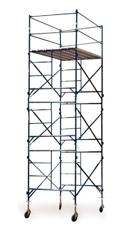 Buffalo Tools - Scaffold Three Story Rolling Scaffold Tower - Three Story Rolling Scaffold Tower by Scaffold Homeowners and contractors alike will appreciate the Three Story Rolling Scaffold Tower. Easily and safely get over 17 feet off the ground for painting, cleaning windows, maintaining roofs or cleaning gutters. Use for installing siding, laying brick, overhead door installation, or even sign installation.  The Three Story Rolling Scaffold Tower includes everything you need to build a safe and secure exterior scaffold system, from the castes to the guard rails. Three walk boards, constructed of wood and aluminum, laid side by side create a large 7 foot by 4 foot, 9 inch working platform. The frames, guard rails and braces are made of durable 1 5/8 inch steel tubing. The large 8 inch casters with dual locking foot brakes allow for easy movement across concrete and other smooth and solid surfaces. That's a big help when don?��t have time to tear down and rebuild the scaffold. This unit is capable of handling a load capacity of up to 750 lbs. Meets OSHA and ANSI scaffolding regulations. Multiple units may be stacked safely when tied off every 20 feet.  Scaffold Tower Set Includes: 4 Pieces Adjustable Height Stem Jack (GSASJ ) 4 Pieces 8 Inch Caster With Foot Brake (GSC8) 6 Pieces 7 Foot Cross Brace (GSCB7) 6 Pieces 5 Foot x 5 Footve to bend over and search for it under the table.  Fun and funky design has clean, modern lines and fits in perfectly with a contemporary d??cor.  Great table to provide extra space for your family and guests in the breakfast nook, sunroom or basement TV room Set at the lowest height it is great for kids playrooms, the table is