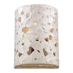 Murray Feiss - Azalia 1-lt Wall Scone - The impressionistic, nature-inspired floral design of the Azalia Collection is made using a pierced ceramic technique. The hand-carved pattern makes each fixture a statement piece which adds warmth, whimsy and wow factor to any d��cor.
