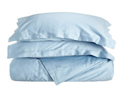 400 Thread Count Egyptian Cotton King/Cal-King Light Blue Solid Duvet Cover Set - 400 Thread Count Egyptian Cotton King/Cal-King Light Blue Solid Duvet Cover Set