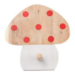 Pakhuis Oost - Polka Dots Mushroom Coat Rack - Where's your jacket, little one? This whimsical mushroom coat rack is an adorable wall decoration and also incredibly useful. Help your child hang a coat, backpack or towel, and get stuff off the floor while bolstering feelings of independence.