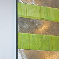 """ID Series (Blue/Lime) - Oil and Aluminum Abstract Painting - Two hand-worked panels made with aluminum and oil paint, these original pieces are lightweight, easy to display and shine brilliantly.  At 30"""" x 6"""" and 24"""" x 6"""" they are priced very affordably."""