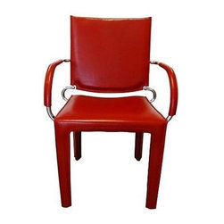 "Pre-owned Italian Red Leather Chair - Italian red leather desk chair with chrome-plated accents. Seat, 17""H; arm, 25""H. In good age-appropriate condition with wear to arms, flaking chrome on one back arm, and a faint seat scratch."