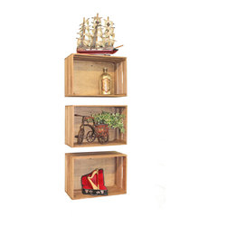 Quickway Imports - Antique Style Wooden Crates, Set of 3, Assorted Shelving Ideas - Enhance your decor with this beautiful shelve crates or stackable crates, stack the way you like, how many you like, and fill them with your books of choice, flowers, wine bottle, or decorative accents, you will add a antique-style decor with the modern art flavor.