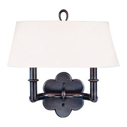 "Hudson Valley - Country - Cottage Hudson Valley Pomona Old Bronze 2-Light Wall Sconce - This marvelous 2-light wall sconce will energize your transitional decor dining room or bedroom. Constructed of solid brass with antiqued old bronze finish over a stylized flower shape backplate and two candle-style arms. A wide simple off-white fabric shade sits beneath a novel loop finial atop this wonderful home accent from Hudson Valley Lighting. Solid brass construction. Old bronze finish. Off-white fabric shade. Takes two 60 watt candelabra bulbs (not included). 13 1/4"" high 13 3/4"" wide. Shade is 11 1/4x4"" across the top 13 3/4x6 3/4"" across the bottom and 5 1/2"" high. Backplate is 6"" wide. 7 1/2"" extension.  Solid brass construction.   Old bronze finish.   Off-white fabric shade.   Takes two 60 watt candelabra bulbs (not included).   13 1/4"" high 13 3/4"" wide.   Shade is 11 1/4x4"" across the top 13 3/4x6 3/4"" across the bottom and 5 1/2"" high.   Backplate is 6"" wide.   7 1/2"" extension."