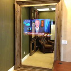 "Custom Barn Doors - The mirror is really two way glass with a 46"" TV ""hidden"" behind it!! Great concept to use on a stationary mirror also for any room in your house or office. Of the top five high-tech trends you don't want to miss:"