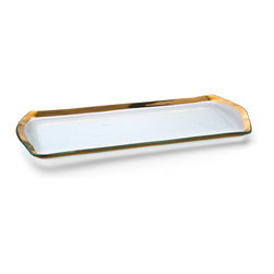 "Annieglass - Oblong Pastry Tray Gold Rim - Roman - Annieglass handmade Roman Antique collection oblong pastry tray in gold trim. Durable, dishwasher safe, chip resistant and safe for dining. Makes a great wedding gift, birthday gift, baby shower gift, or any other special occassion! Handmade glass 16 3/4 x 6 3/4"" oblong pastry tray produced in the U.S.A. Durable, chip-resistant and dishwasher safe. Banded with 24-karat gold. Each Annieglass piece is handmade from architectural quality glass with Annie Morhauser's trademark slumping process  which is a uniquely developed glass bending technique. Each piece is highly durable, dishwasher safe, chip resistant, and safe for dining."