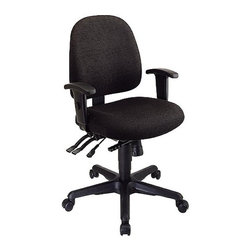 Office Star - Ergonomic Contoured Office Chair w Tilting Ra - Fabric: Black in Icon PatternIf you need a chair for your office that will stand the changing office décor, then this is the chair for you!  The black upholstery will stand the test of time, and it is comfortable too!  You will love sitting back in the contoured seat!  The lumbar support will keep your back in the correct position all throughout the day! *  Contour Molded Seat and Back with Built-in Lumbar Support. Ratchet Back Height Adjustment. Pneumatic Seat Height Adjustment. Multi Function Control with Adjustable Tilt Tension and Forward Tilt. Height Adjustable Arms with Soft PU Pads. Heavy Duty Nylon Base with Dual Wheel Carpet Casters.  Seat Size: 20W x 19.25D x 2.25T. Back Size: 17.75W x 18.5H x 2.5T. Overall Max: 42H x 22.25W x 24.5D