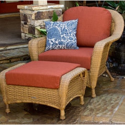 Tortuga Lexington Chair and Ottoman Set - There's nothing quite so relaxing as truly enjoying some earnest alone time, during which the best possible companion is the Tortuga Lexington Chair and Ottoman Set. Whether you're soaking in some sun with a good book on the weekend or unwinding with a drink after a hard day of work, this set offers a deep luxurious setting to focus on yourself. The ottoman gives you a footstool on which to rest your tired feet or an extra surface on which you can set a book, plate, or drink. Should you selflessly feel like inviting others in to your relaxation, this set pairs perfectly with other pieces from the Tortuga Lexington collection, while preserving that precious personal space.The curved structuring of the Lexington collection gives these pieces a luxurious feel that you will love sinking into. And with your choice of finish and fabric color or pattern, you'll be able to customize them to your own personal tastes for a look that's entirely you. Because they are made with superior-quality materials, these pieces are sure to continue looking good year after year and season after season, with minimal care or maintenance. The synthetic resin wicker has been subjected to accelerated weather testing to be certain that it is strong, durable, and resistant to harsh temperatures, UV rays, and other environmental conditions. Sturdy powder-coated aluminum frames won't rust, and the cushion fabric is resistant to mildew and fading.About Tortuga OutdoorWith an innovative range of indoor-outdoor furniture, Tortuga Outdoor specializes in fine, long-lasting pieces you can place anywhere inside or outside your home. Each is crafted with a rust-proof aluminum or steel frame for stability then covered with durable hand-woven synthetic resin wicker that, unlike rattan wicker, won't rot or splinter. The all-weather wicker is regularly subjected to accelerated weather testing to superior results.