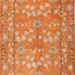 Jaipur Rugs - Transitional Oriental Pattern Red /Orange Wool Tufted Rug - PM57, 8x11 - The Poeme Collection takes traditional designs and re-invents them in a palette of modern, highly livable colors. Each design is made from premiere hand-spun wool and crafted with precision for the look and feel of a hand-knotted rug, at the more affordable cost of a hand-tufted. Poeme will effortlessly coordinate individual design elements to finish any room.