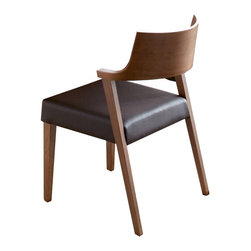Domitalia - Domitalia Lirica Chair in Walnut/Black (Set of 2) - The beauty of the Domitalia Lirica Chair is much like the beauty of lyrical poetry, which is precisely where this modern dining chair gets its name. The Lirica Chair by Domitalia exhibits simple yet sophisticated style, with a leather seat and durable finish of your choice.
