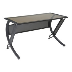 Office Star - Tempered Glass Top Bronze Desk w 1/4 Round Co - Modern curves and a rich bronze tone powder coat finish bring a fresh, contemporary look to this steel desk, enhanced by a tempered glass top for added visual interest. Ideal for paperwork or conference calls, the desk has an innovative design that allows for efficient, comfortable movement. Black crinkle powder coated frame. 52 in. W x 26 in. L x 30 in. H