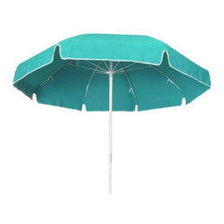 Fifthroom - 7.5' Octagon Commercial Sunbrella Umbrella w/Fiberglass Pole, Manual Lift, and N - When the sun beats down, you can stay cool – and be cool – with this hot number.  Made from durable Sunbrella fabric, this 7.5' Umbrella provides a large area of shade, and up to 98% protection from the sun's UV rays.  With the strength of white fiberglass in its pole and ribs, it is designed to withstand the harshest winds without bending or breaking.  Available in a variety of delightful colors and patterns, this umbrella really sizzles.