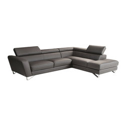 JNM Furniture - Nicoletti  Sparta Italian Leather Sectional Sofa, Gray, Right Facing Chaise - Italian Leather sectional set fashionable and stylish. Seats and backs have high density foam to give you extra comfort and support.