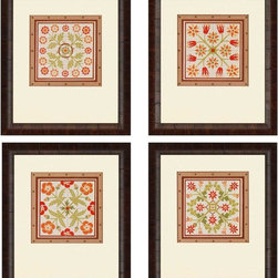 Paragon Decor - Floral Folk Tiles Set of 4 Artwork - Prints accented with embossed decorative copper paper and surrounded with petite tacks.