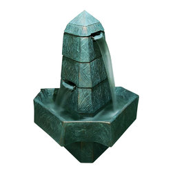 Abstract Obelisk Fountain, Mediterranean Sunset - *Please Note: Our color chart is for example purposes only. Monitor settings and how the finish is applied to these outdoor water fountains can vary to what is shown in the color chart.  Actual stone samples of each finish can be purchased to help you make your finish choice.