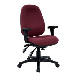 Flash Furniture - Adjustable Ergonomic Office Arm Chair w Conto - Thicker padding extends comfort when you need all day support. This is a versatile office chair designed for task, computer and desk use. A contoured seat and enhanced lumbar shaping encourage better posture while giving you a stylish, professional design. Thick padded contoured seat and back with built-in lumbar support. Multi-function triple paddle control. Pneumatic seat height adjustment. Adjustable back angle adjustment. Tension control knob. Forward seat tilt control. Adjustable seat angle control mechanism. Height and Width adjustable polyurethane PADDED Arms. Heavy duty nylon base with dual wheel casters. Seat Height: 19 in. - 24 in. H. Back: 18 in. W x 21 in. H. Arm Height: 7 in. - 9.5 in. (from Seat); 24.75 in. - 32.5 in. (from Floor). Seat: 19.5 in. W x 18 in. D. Overall: 23 in. W x 22.5 in. D x 38.5 in. - 43.25 in. H (29 lbs.)